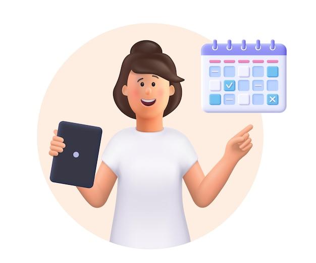 Jovem jane segurando um tablet mostrando plano, cronograma, planejamento, dia, vetorial, 3d, pessoa, ilustração