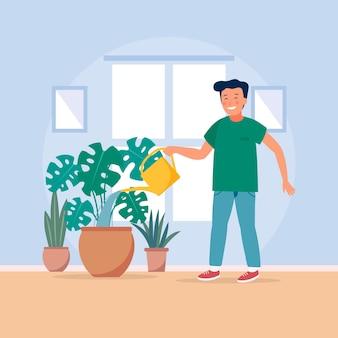 Jovem, jardinagem em casa