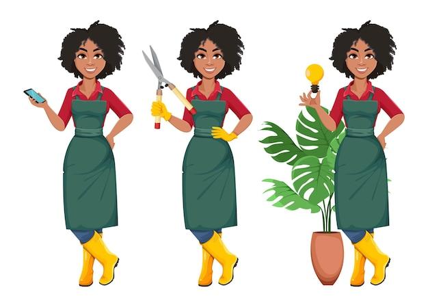 Jovem jardineira afro-americana com três poses