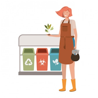 Jovem jardineiro com caráter de avatar de cestas de reciclagem