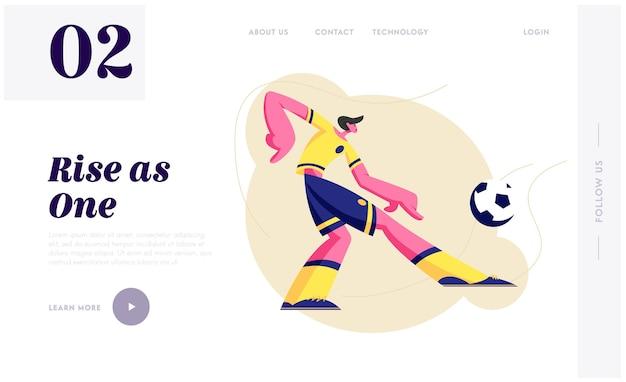 Jovem jogador de futebol de futebol em uniforme de equipe em movimento chute a bola.