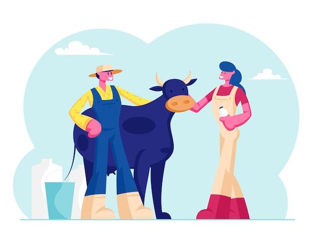 Jovem leiteira mulher e homem fazendeiro em uniforme fica perto de vaca com garrafa e balde. ilustração plana dos desenhos animados