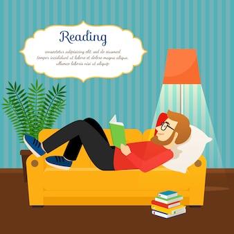 Jovem, leitura, livro, confortável, sofá