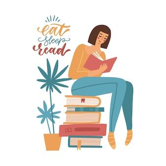 Jovem lendo um livro enquanto está sentada na pilha de livros gigantes que um estudante estuda