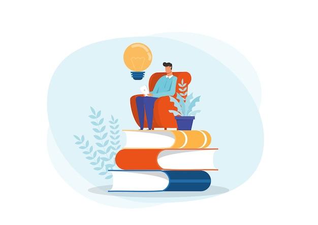 Jovem lendo um livro, sentado na pilha de livros gigantes. ideia de ler livros concept flat