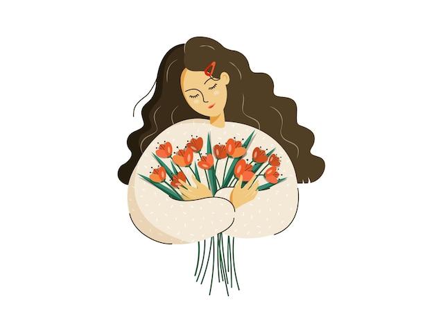 Jovem linda com um buquê de flores da primavera