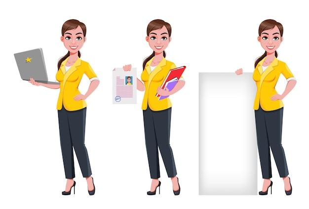 Jovem linda mulher de negócios com três poses