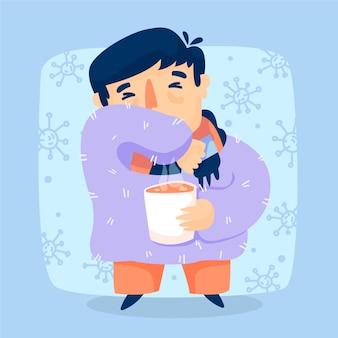 Jovem macho com sintomas tossindo e segurando uma xícara