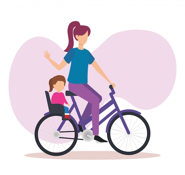 Jovem mãe em bicicleta com a filha