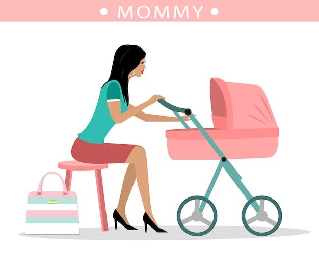 Jovem mãe fashion com um carrinho de bebê