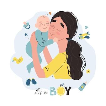 Jovem mãe segurando seu bebê