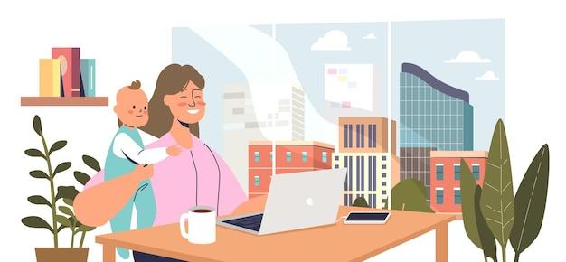 Jovem mãe sentar com o filho bebê e trabalhar no laptop. mulher freelancer ou trabalhador remoto no local de trabalho de escritório em casa. conceito de maternidade e carreira. ilustração em vetor plana dos desenhos animados