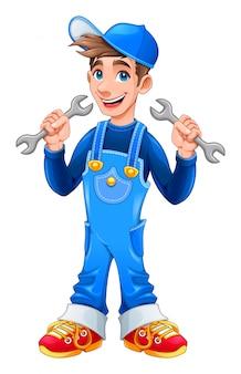 Jovem, mecânico, com, macaco, chaves, em, seu, mãos