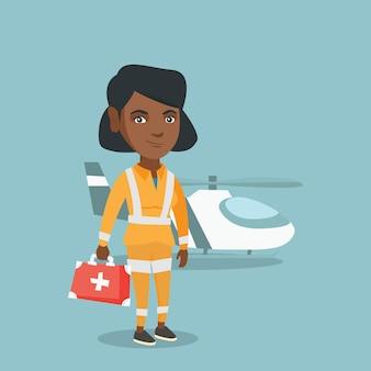 Jovem médico africano-americano de ambulância aérea.