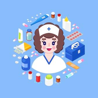 Jovem médico com diferentes equipamentos médicos. conceito de cuidados de saúde