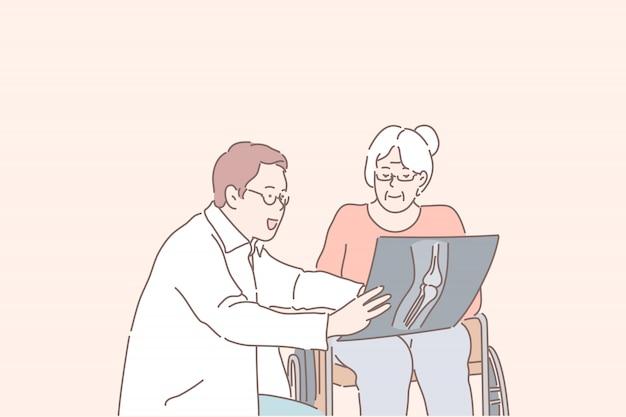 Jovem médico competente explica o diagnóstico a uma mulher idosa