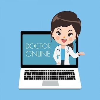Jovem médico feminino aconselhar os pacientes através de canais on-line ou mídia social com uma jovem mulher emergindo da tela do laptop.