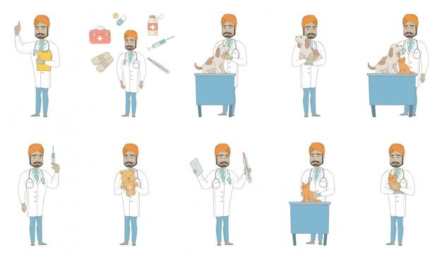 Jovem médico indiano conjunto de caracteres