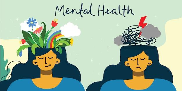 Jovem menina bonita com flores e tempestade na cabeça. conceito de ilustração de saúde mental. interpretação visual da psicologia da saúde mental.