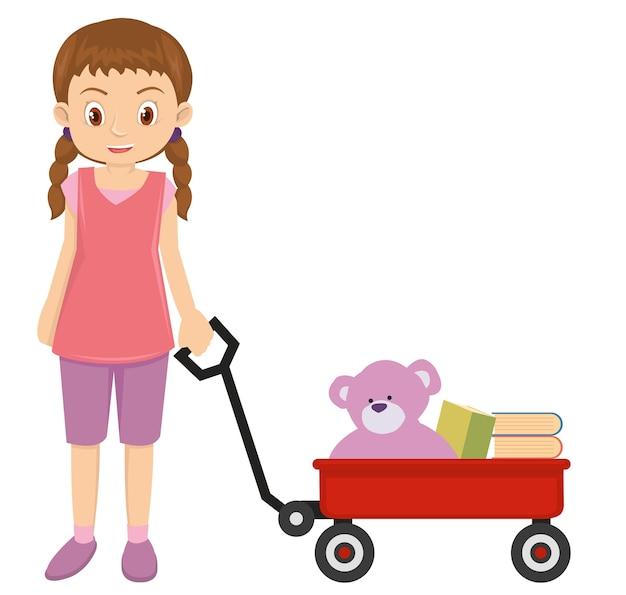 Jovem menina brincando com vagão vermelho e urso de pelúcia rosa