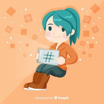 Jovem, menina, hashtag, conceito, fundo