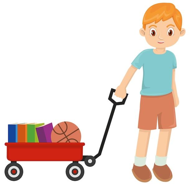 Jovem menino feliz brincando com vagão vermelho
