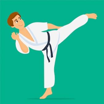 Jovem, menino, jogador karate