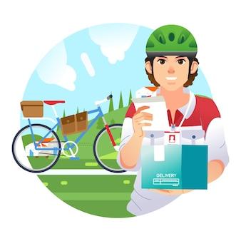 Jovem mensageiro entrega o pacote andando de bicicleta e dando recibo para ilustração do cliente