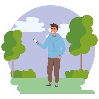 Jovem milenar smartphone texting frame redondo
