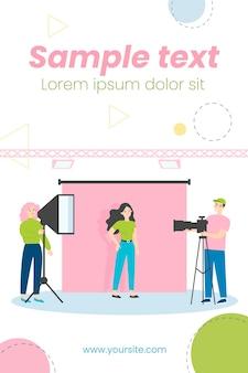 Jovem modelo posando em estúdio fotográfico isolado ilustração plana