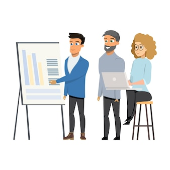 Jovem mostra diagramas para o grupo de pessoas na reunião
