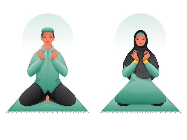 Jovem muçulmano e mulher oferecendo namaz (oração) no tapete.