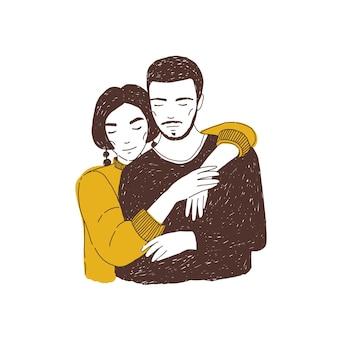 Jovem mulher abraçando o homem. amantes adoráveis ou parceiros românticos carinhosos. Vetor Premium