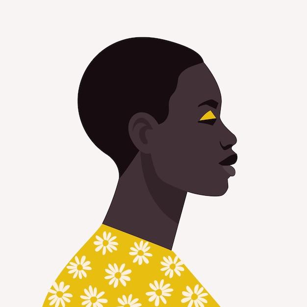 Jovem mulher africana com cabelo curto retrato de uma linda mulher africana