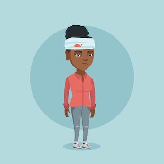 Jovem mulher afro-americana com a cabeça ferida.