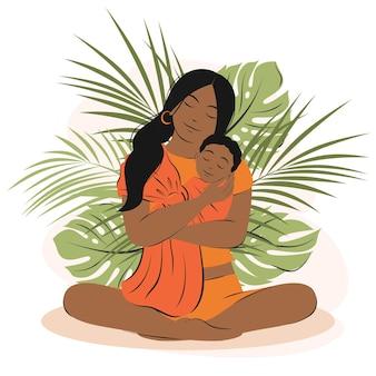 Jovem mulher afro-americana está segurando um bebê recém-nascido nas mãos. mãe e filho entre as plantas tropicais. família, saúde, conceito de maternidade, feliz dia das mães. ilustração vetorial plana