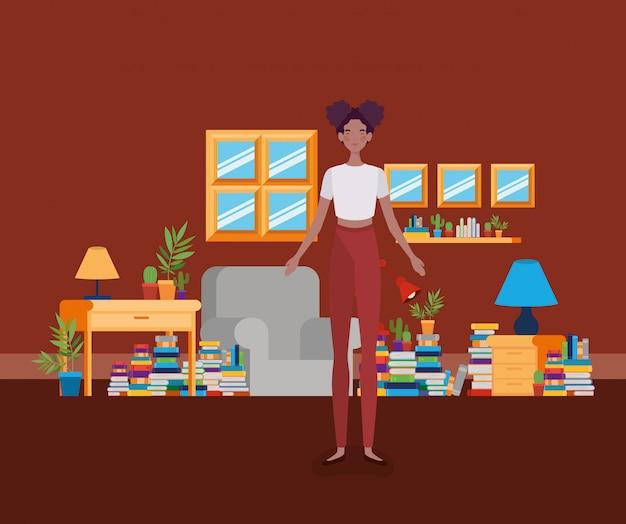 Jovem, mulher afro, ficar, em, a, biblioteca, sala