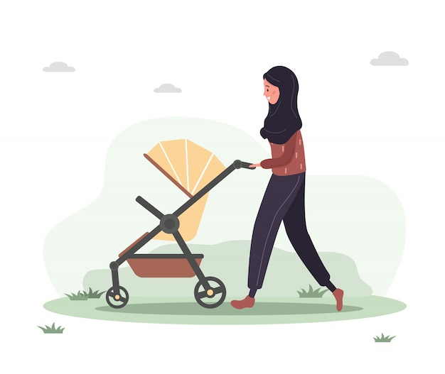 Jovem mulher árabe caminhando com seu filho recém-nascido em um carrinho de bebê. garota em uma caminhada com um carrinho e um bebê na natureza ao ar livre. ilustrações em estilo simples.
