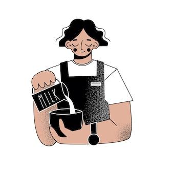 Jovem mulher barista fazendo café. ilustração plana.