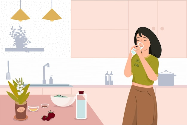Jovem mulher bebendo água ilustração em vetor estilo de vida saudável dieta de saúde
