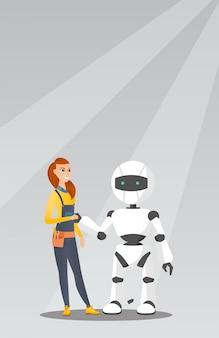 Jovem mulher caucasiana handshaking com robô