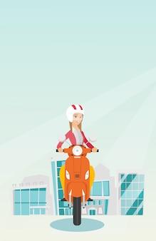 Jovem mulher caucasiana, montando uma scooter.