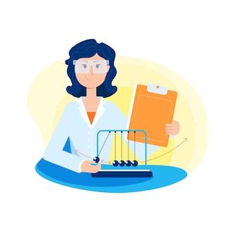 Jovem mulher-cientista em bata branca e óculos, conduzindo um experimento físico.