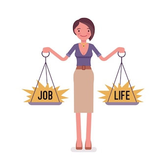 Jovem mulher com balança para equilibrar o trabalho