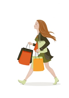 Jovem mulher com cabelo vermelho em um vestido verde e casaco com sacolas brilhantes. moça caminhando. ilustração vetorial