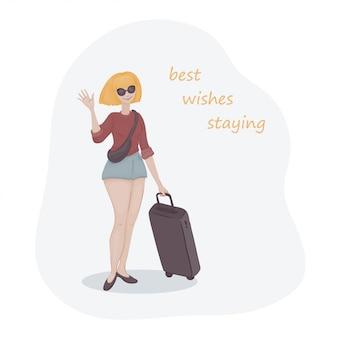 Jovem mulher com cabelos amarelos em um par de óculos de sol com uma sacola de bagagem. garota de férias.
