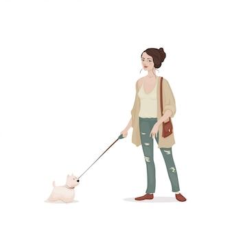 Jovem mulher com cabelos castanhos em um casaco de lã bege e calça jeans com um cão pequeno trela branca. menina andando cachorrinho. ilustração.