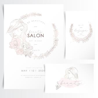 Jovem mulher com cabelos compridos em grinalda de flores para o modelo de convite de evento