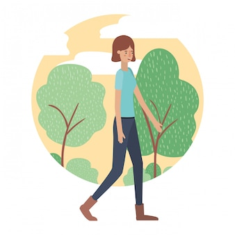 Jovem mulher com caráter de avatar de paisagem