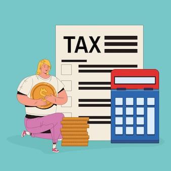 Jovem mulher com caráter de imposto e calculadora